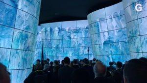 شبیه سازی منظره با استفاده از مانیتورهای OLED شرکت LG در نمایشگاه CES۲۰۱۸