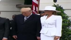 حاشیه های شکار شده دوربینی دونالد ترامپ و همسرش....