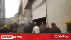پلاسکو دقایقی پیش از ریزش و تلاش پليس براي تخليه