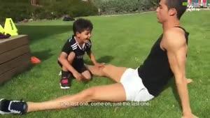 آموزش دادن کریس رونالدو به پسرش