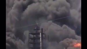 لحظه انفجار و مهار حریق در شهرک صنعتی خمین