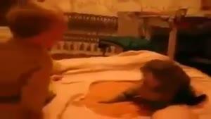 سیلی خوردن  گربه از بچه