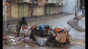 مخفی شدن سربازان صهیونیسم در سطل زباله