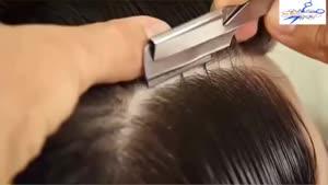 آموزش کوتاه کردن دو نمره موهای دور سر و پیتاژ موهای بلند مردانه در دو جهت و خط انداختن برای فرق سر