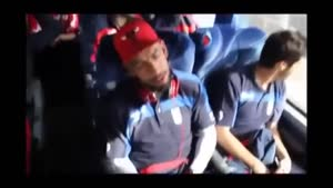بازیکنان تیم ملی در اتوبوس