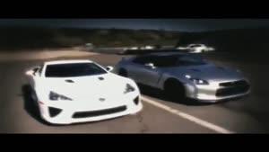 تبلیغ لکسوز LFA - درگ لکسوز LFA با نیسان GTR