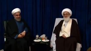 دیدار رئیس جمهور و هیات همراه با مراجع عظام تقلید