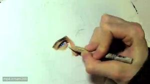 نقاشی چهره پل واکر فقط با استفاده از مداد رنگی