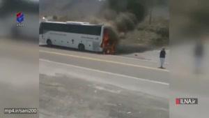 آتشگرفتن اتوبوس در جاده نیکشهر سیستان و بلوچستان