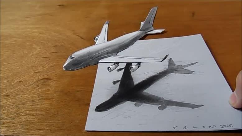 نقاشی سه بعدی هواپیما