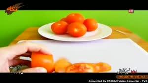 اموزش تزیین گوجه فرنگی به شکل گل رز
