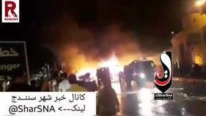 تصادف تانکر سوخت با اتوبوس مسافربری در سنندج