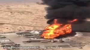 نمای هوایی از سومین روز فوران آتش در چاه ۱۴۷ رگ سفید