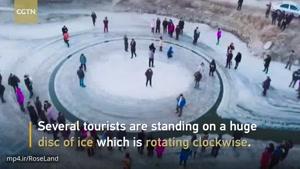 تصاویر هوایی از یک پدیده یخی بامزه در چین