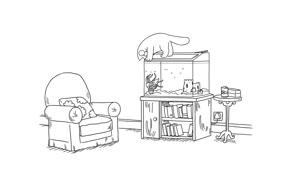 انیمیشن کوتاه و سیاه سفید گربه ی سایمون