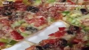 تزیین پیتزا تخم مرغی
