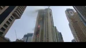 فیلم/ آتش سوزی در برج مسکونی در دبی