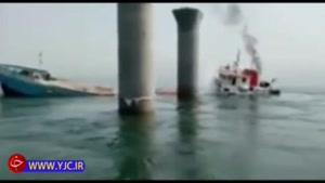 فیلم غرق شدن کشتی باربری ایرانی در کویت