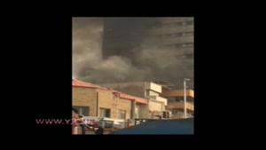 ریزش قسمتی از ساختمان پلاسکو در آتش سوزی