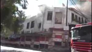 فیلم/آتش سوزی در بازاری در دمشق