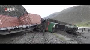 واژگونی قطار بر اثر ریزش کوه