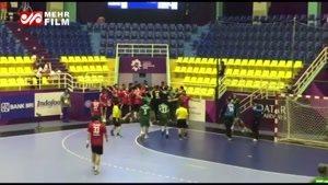 درگیری شدید در بازی هندبال ایران و عربستان