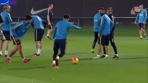 فیلم/ آخرین تمرین تیم فوتبال بارسلونا پیش از ال کلاسیکو