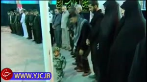 نماهنگ دیدار رهبر انقلاب با خانواده شهید حججی در مراسم تشییع