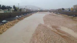 فیلم/ بارش باران رودخانه خشک شیراز را جاری کرد