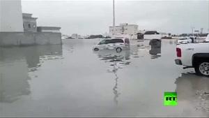فیلم/باران های سیل آسا و آب گرفتگی معابر در قطر