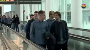 فیلم/ تیم فوتبال بارسلونا وارد مادرید شد