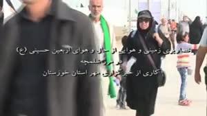 فیلم/حرکت زائران اربعین حسینی (ع) در شلمچه از نمای هوایی