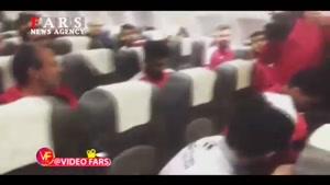 جشن قهرمانی بازیکنان پرسپولیس در هواپیما