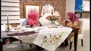 آموزش گل زدن روی لباس عروس