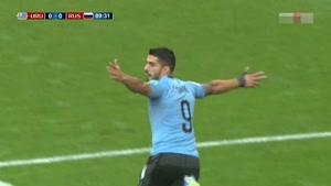 گل اول اروگوئه به روسیه توسط لوئیس سوارز