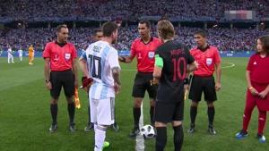 پخش سرود ملی آرژانتین و کرواسی به همراه ترکیب ۲۳ نفره