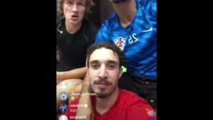 لایو بازیکنان کرواسی در رختکن بعد بازی فینال