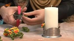 تزئین شمع با گل