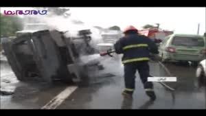 آتش گرفتن آمبولانس و سوختن جسد در آن