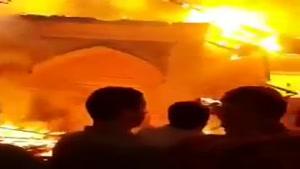 مسجد جامع ساری کاملا در آتش سوخت