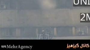 فیلمی کمتر دیده شده از جانفشانی ماموران آتش نشانی بر روی نردبان در هنگام فرو ریختن ساختمان پلاسکو