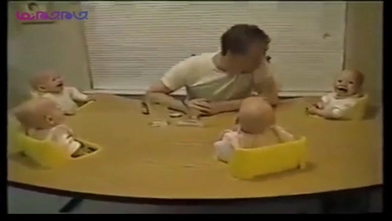شیرین کاری پدر و خندیدن ۴ قلوها