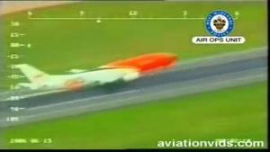 فرود هواپیمای بوئینگ 737 شرکت TNT با یک چرخ عقب
