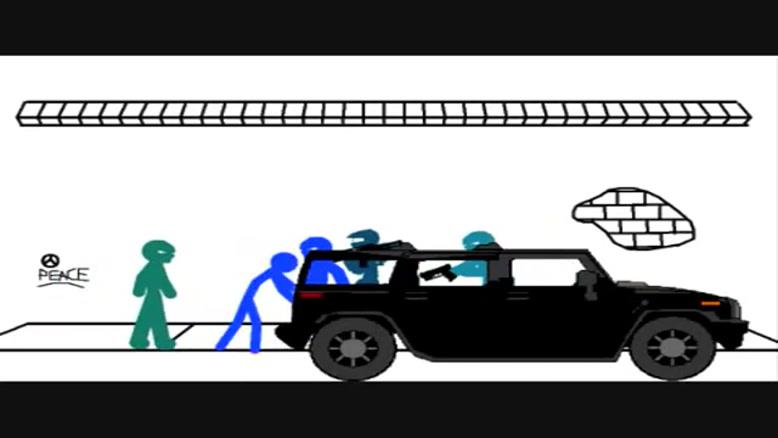 انیمیشن مبازره گروه قرمز با آبی