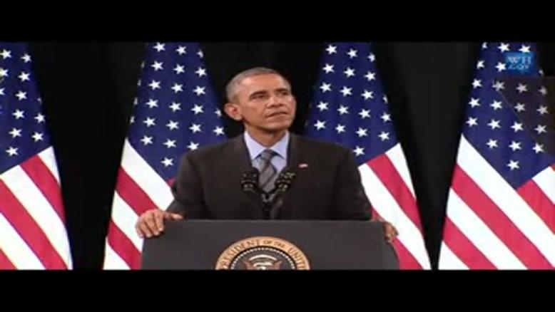 قطع سخنرانی رئیس جمهور آمریکا در لاس وگاس