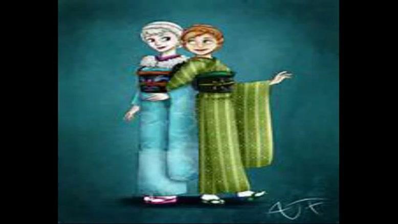 السا و آنا با لباس ژاپون قدیم