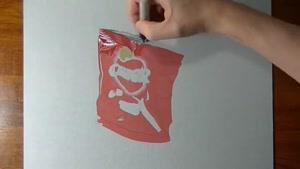 نقاشی سه بعدی پاکت خالی چیپس