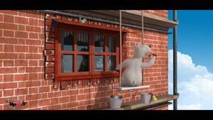 برنارد در حال تمیز کردن پنجره