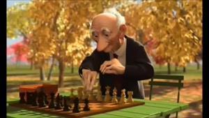انیمیشن کوتاه و جالب شطرنج بازی کردن پیرمرد