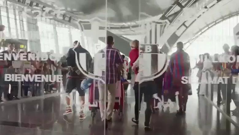 بازیکنان بارسا در تبلیغات قطر ایر......
